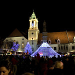 Christmas Market in Bratislava, Slovakia. Author fortysix_vie. Licensed under Creative Commons Attribution