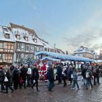 Christmas Market in Colmar (Marché de noël de Colmar), Alsace, France. Author Office de Tourisme de Colmar. Licensed under Creative Commons Attribution..