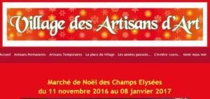Village des Artisans d'Art du Marché de Noël des Champs Élysées 2016