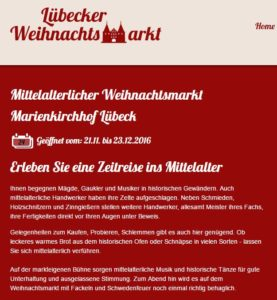 Mittelalterlicher Weihnachtsmarkt Marienkirchhof Lübeck 2016