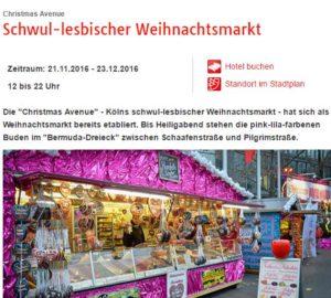Christmas Avenue an der Schaafenstraße - Schwul-lesbischer Weihnachtsmarkt