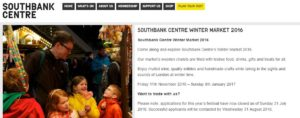 Southbank Centre Winter Market 2016