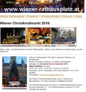 Wiener Christkindlmarkt am Rathausplatz 2016