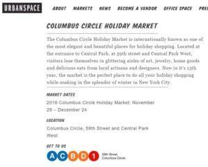 Columbus Circle Holiday Market 2016