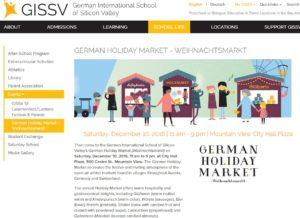 German International School of Silicon Valley's German Holiday Market (Weihnachtsmarkt) 2016