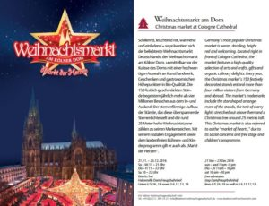 Christmas market at Cologne Cathedral 2016